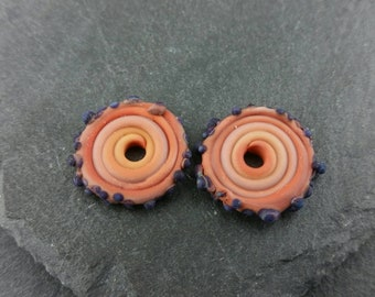 Matching orange and blue handmade lampwork glass discs | etched glass | earring pair