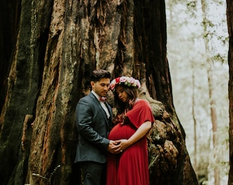 Into the Woods~ Ruby Red Bellport Crimson - Silky Satin Jersey~ No Train- Octopus Convertible Infinity Wrap Dress. Plus Size, Maternity