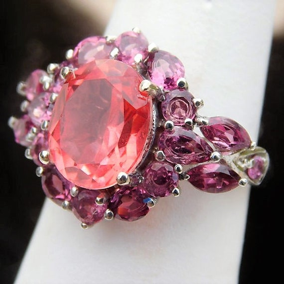 Quartz and Rhodolite Garnet Ring / Sterling Silver / Size 6 Six / Fancy