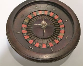 Vintage Roulette Game Room Man Cave Wheel Mahogany