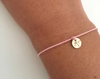 Bracelet with nylon cord and mini dandelion pendant
