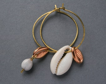 cowrie shell earrings - asymmetrical mismatched hoops - ethnic boho jewelry - hammered brass