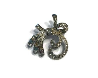 Signed Coro Brooch, Pave Rhinestone Ribbon Brooch, Costume Jewelry