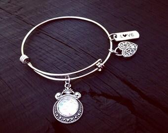 White Pearl Mermaid Scale Bangle Bracelet | Mermaid Jewelry | Jewelry For Mermaid Lover | Mermaid Gift | Beach Jewelry | Nautical Jewelry