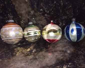 Vintage 1960's - 1970's Christmas Ornaments - Shiny Brite - Poland