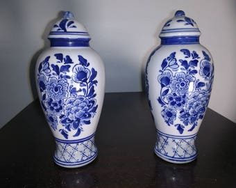 Salt and Pepper Shakers- Blue and White China