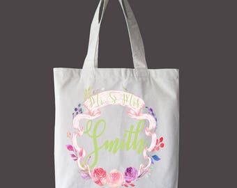 Personalized Custom Tote Bag, Market bag, Wedding Planning Bag, Beach Bag, Book Bag, Summer Bag, Canvas Bag, mrs. tote bag
