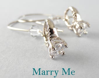 Marry Me Silver Cubic Zirconia and Swarovski Earrings with Free USA Shipping