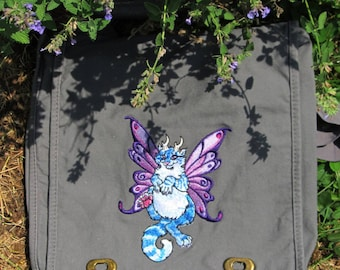 Fairy Cat Canvas Messenger Bag