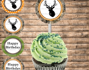 DIY Printable Camo and Deer Themed Happy Birthday Cupcake Toppers - Printable Instant Download