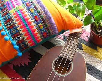 Orange Mexican Throw Pillow Boho Boho - Bohemian Colorful Gypsy Cushion Cover - Unique