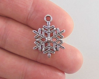 8 Snowflake charms, 22x17mm, antique silver finish