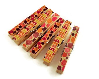 Altered Clothes Pin  Clips  Decorative  Wooden Clothespins Clothespin Magnets in Joyous