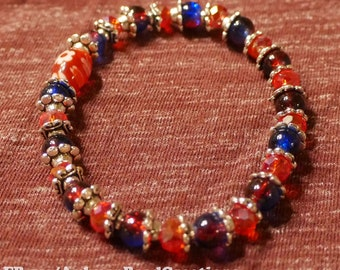 Blue, red, orange, and silver beaded bracelet