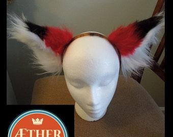 Red and Black fox ears--halloween costume, Fox Ears, Furry, Cat ears, Wearable ears, Custom made ears rave ears