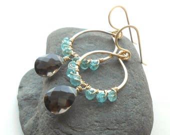 Gold Gemstone Dangle Earrings, Smokey Quartz and Apatite