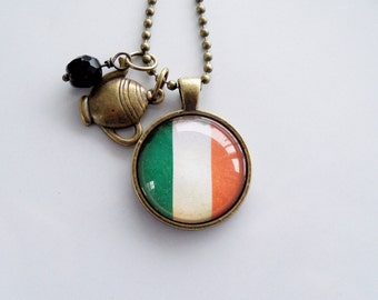 Flag of Ireland Necklace - Irish Flag - You Choose Bead and Charm - Patriotic Pendant - Custom Jewelry - Travel Necklace - Green and Orange