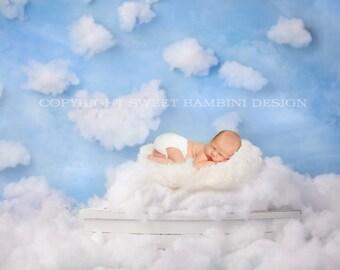 """Newborn Digital Background - """"Dreamboat"""" White Fluffy Clouds"""
