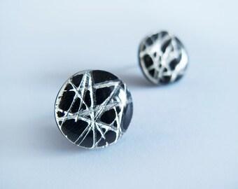 Large Black Silver Round Stud Earrings - Hypoallergenic Titanium Posts