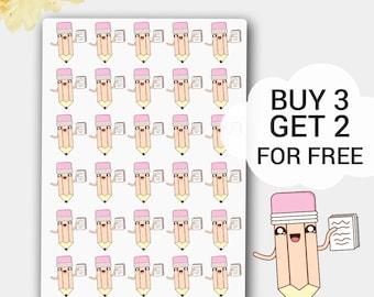 Pencil Planner Sticker,Kawaii Pencil,Mini Pencil Life Planner, LimeLife, Kawaii Stickers, Writer Stickers, Stickers,Study Stickers, School