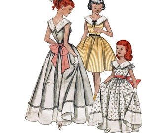 Girls 1950s Dress Pattern / Flower Girl Dress / Formal Party Dress / Out of Print Sewing Pattern Butterick 7333 Size 6