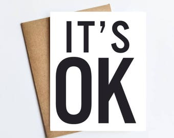 It's Ok - NOTECARD - FREE SHIPPING!