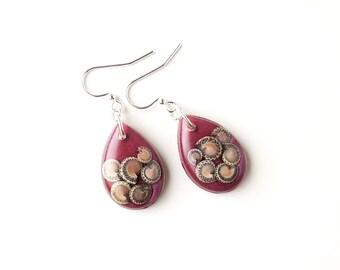 Snail Earrings, Shells Resin Drop Earrings, SALE, Dark Red Earrings, Resin Jewellery, Snail Shell Jewellery, Animal Mollusc, UK Seller
