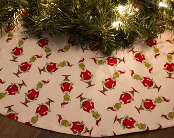 Christmas Tree Skirt-Grinch-White-Red-Green-Holiday Decor-Christmas Decoration-