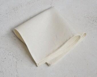 Ivory Cream Linen Pocket Square