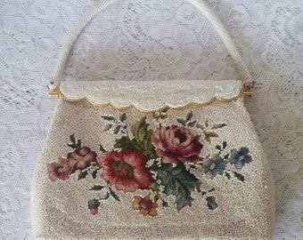Vintage Wedding Handbag, Wonderful,  Wedding White, Seed Beaded, and Petit Point, Vintage Handbag