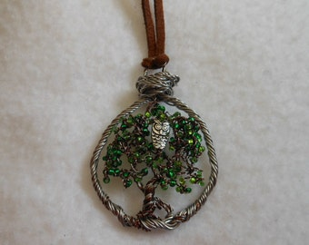 Tree of life necklace,Wire Tree Sculpture,Tree of Life,Wire Tree,Tree Ornament,US Artist, Owl Necklace, Beaded Necklace,Sliver Necklace,