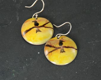 Sunset Birds Hand Painted Torch-Fired Enamel Earrings