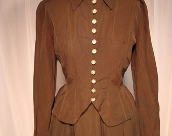 On Sale 1940s New Look Skirt and Top Dress in Chocolate Brown Faille Long Sleeves Perry Brown Vanity