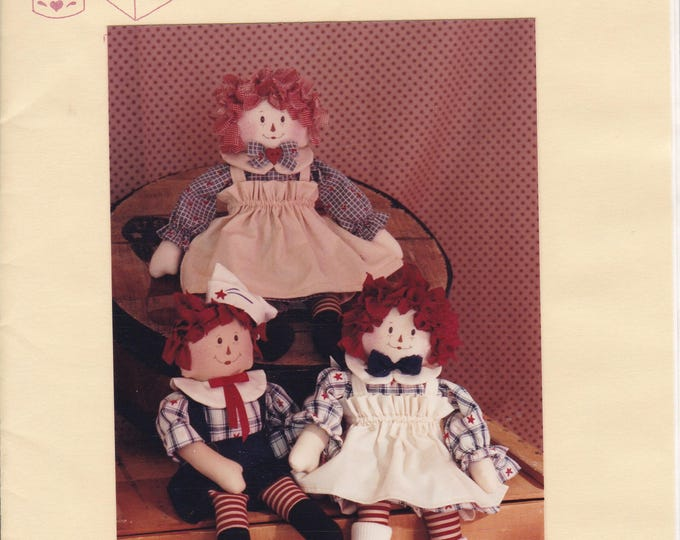 """FREE US SHIP Craft Sewing Pattern Twice as Nice Designs Raggedy Kids 147 Annie Andy 14"""" Dolls Uncut 1991"""