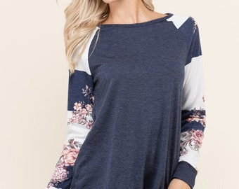 Floral and striped sleeve solid sweatshirt