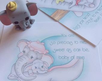 Dumbo bundle art prints - Dumbo nursery art, print, decor, disney, baby of mine