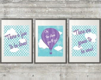 Oh The Places You'll Go, There is fun to be done Printable Dr. Seuss Nursery Art Set of 3 8x10 digital files in light purple and blue
