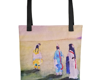 After the Pow Wow Tote bag, Original Art, Unique, Watercolor