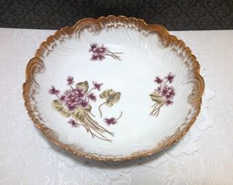 Antique Serving Bowl, Austrian Porcelain by Count Thun and PH Leonard, Violets and Gold Leaf, Hand Painted, Art Nouveau, Circa 1890s