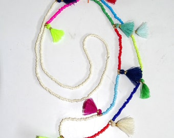Boho Multi colored beads and tassel long Necklace/ Seed bead & Tassel Necklace / Multi coloured necklace/Multi Tassel necklace/Boho Necklace