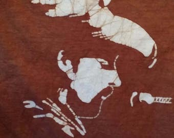 Grateful Dead Pigpen Ron McKernan hand made brown batik t shirt.