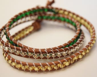 Triple Wrap Bracelet // Green, Gold And Silver