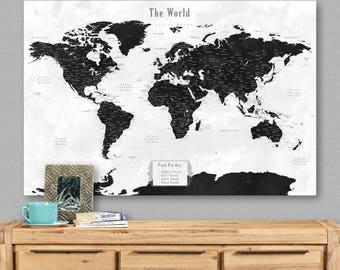 Large world map etsy large world map canvas art framed world map push pin large world map push pin travel gumiabroncs Gallery