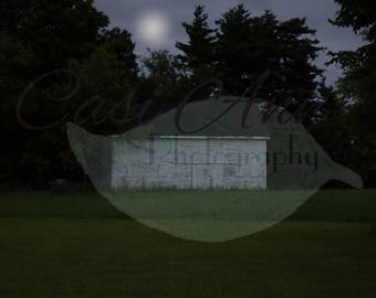 Summer Night Barn Digital Photography Backdrop Background Moon White Barn Trees Grass Sky