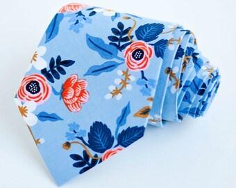 Necktie, Neckties, Mens Necktie, Neck Tie, Floral Neckties, Groomsmen Necktie, Ties, Rifle Paper Co - Birch Floral In Periwinkle