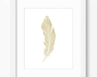 Feather Print, Feather Art, Feather Wall Art, Single Feather Print, Gold, Wall Print, Gold Feather Print, Vertical Feather Print,