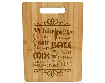 Laser Engraved Cutting Board - 027 - Kitchen Words