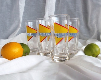 Casanis pastis glasses, set of 6 vintage french home decor, barware, retro dining, mediterranean
