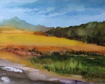 ORIGINAL watercolor Painting Landscape ,Field painting ,