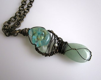 Mermaid's Song - Lampwork Seashell with Aventurine and sea glass Kindred Spirit Long Necklace